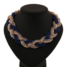 Statement Necklace Vintage Fashion Punk Big Simple Metal Chain braid Twist Chain Necklaces Pendants Women Jewelry