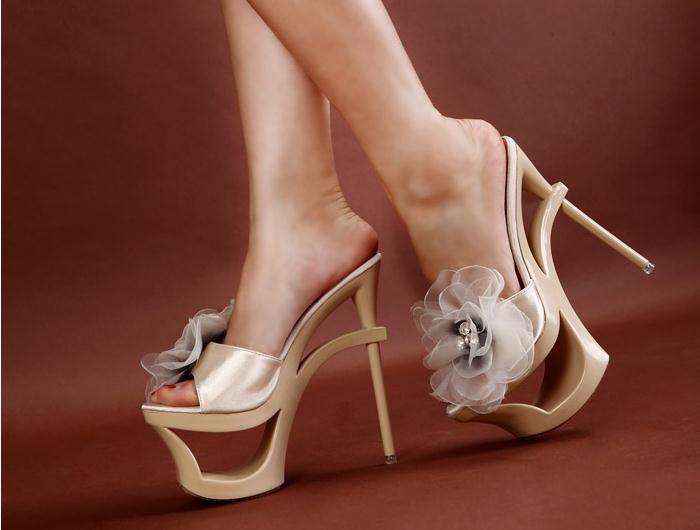 34-39 Size Women Summer Pumps Girl New Fashion Trend Rhinestone Flowers Sandals Female Sexy Ultra High Thin Heel Slides Students<br><br>Aliexpress