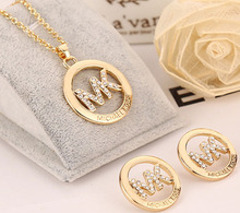 wholeslae price A pair lover gold silver rose plated Michaell Round crystal letter pendants Necklace Earrings womens Jewelry Set(China (Mainland))