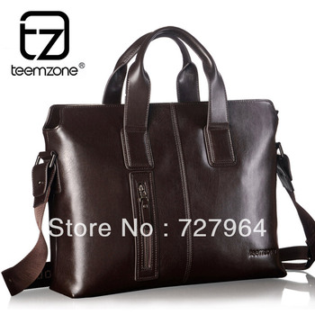 "teemzone Men's Genuine Leather Business Case Briefcase Portfolio Messenger Shoulder Tote Attache 14"" laptop Bag Trend T0755"