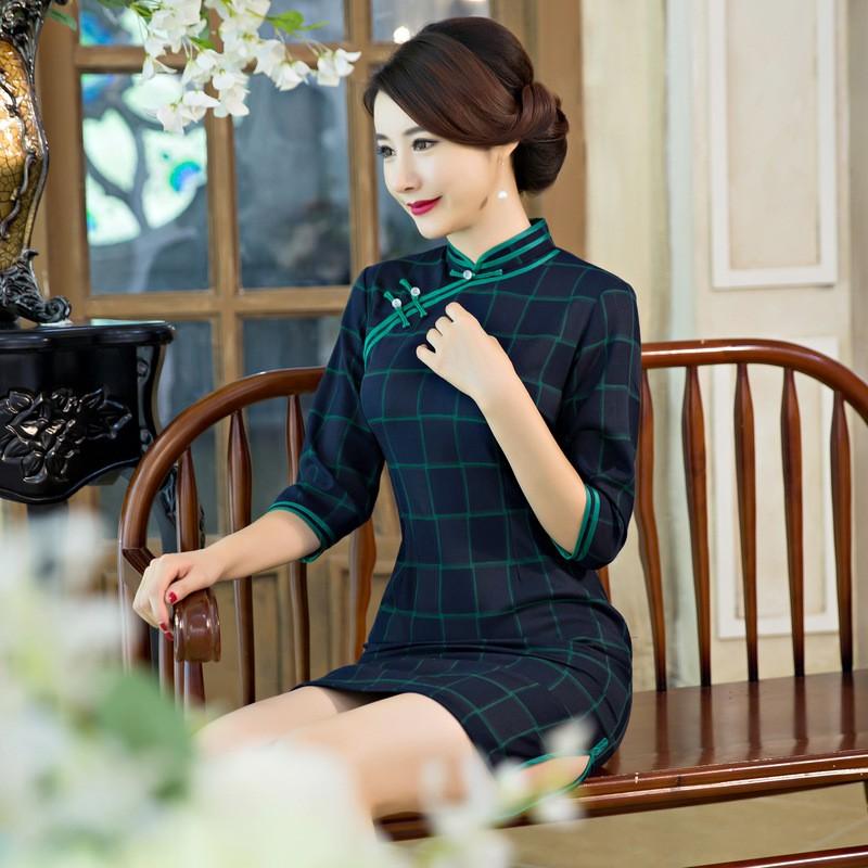 ใหม่MujerสตรีมินิC Heongsamแฟชั่นจีนสไตล์การแต่งกายที่สวยงามบางสั้นพิมพ์QipaoขนาดSml XL XXL XXXL F090909 ถูก