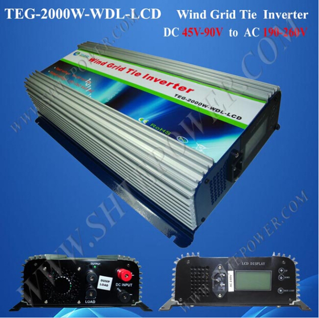 CE&ROHS Available 45-90V to 190-260V DC to AC Wind Power Grid Tie Inverter 2kw(China (Mainland))