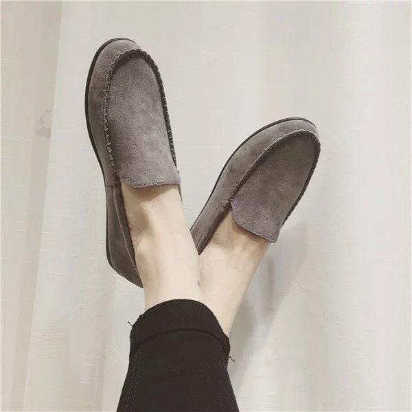 2016 весна осень женщинам-бездельников твердые замши лодка обувь круглым носком свободного покроя женщина квартиры туфли Zapatos mujer серый