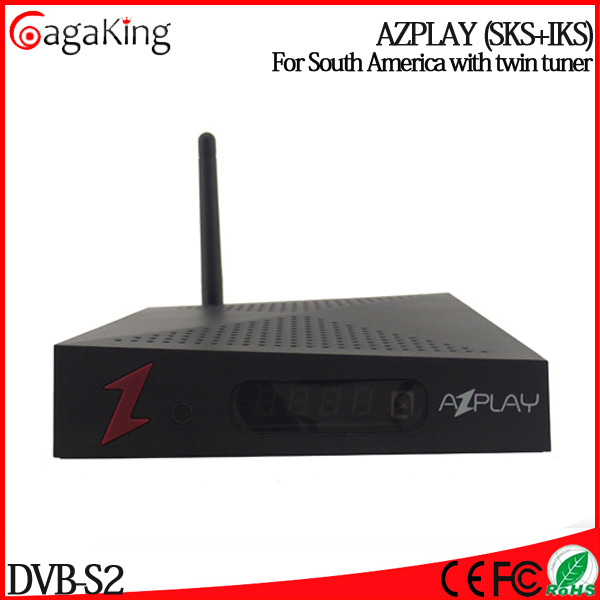 Free shipping 2015 smart tv box IPTV box AZPLAY satellite receiver Twin Tuner IKS/SKS Nagra3 system Mainly for South America(China (Mainland))