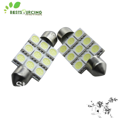 Free Shipping 10pcs/lot high bright 39MM 9 SMD  white car led light lamp bulb