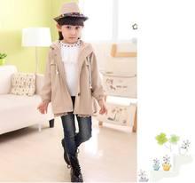 2014 Winter Girls High-Grade Healthy Plaited Interlock Fabric Hoodies Coat Kids Thicken Fleece Outerwear Children Warm Overcoat(China (Mainland))
