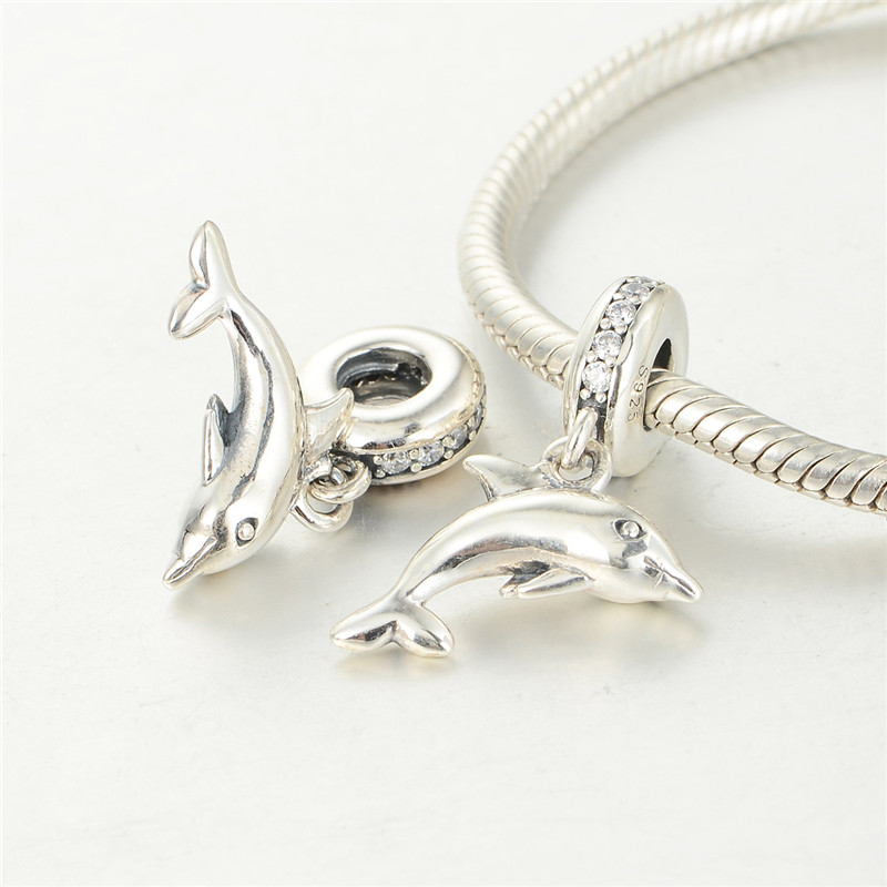 Compatible With Pandora Charms Bracelet 925 Sterling Silver Playful Dolphin With Clear Cz Dangle LW515<br><br>Aliexpress