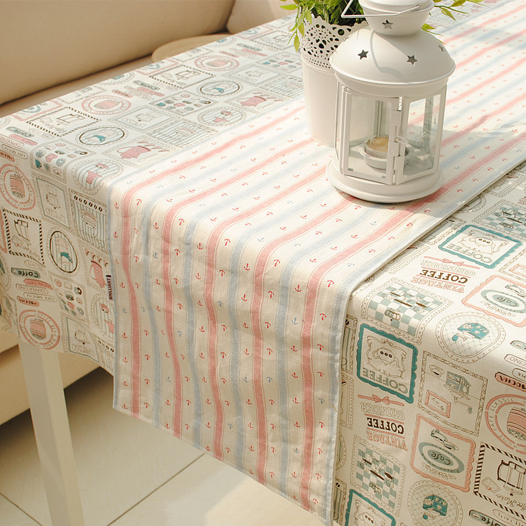 Fresh Style Cotton+Linen Sea anchor Table Runner for Dining Table/Home/Hotel Double Sides 30*180cm 30* 210cm Accept Customized(China (Mainland))