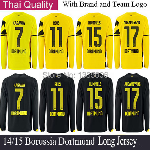 REUS Long Sleeve Soccer Jersey 14 15 Borussia Dortmund Long Sleeve Jersey Home Yellow Away Black AUBAMEYANG Camisetas de Futbol(China (Mainland))