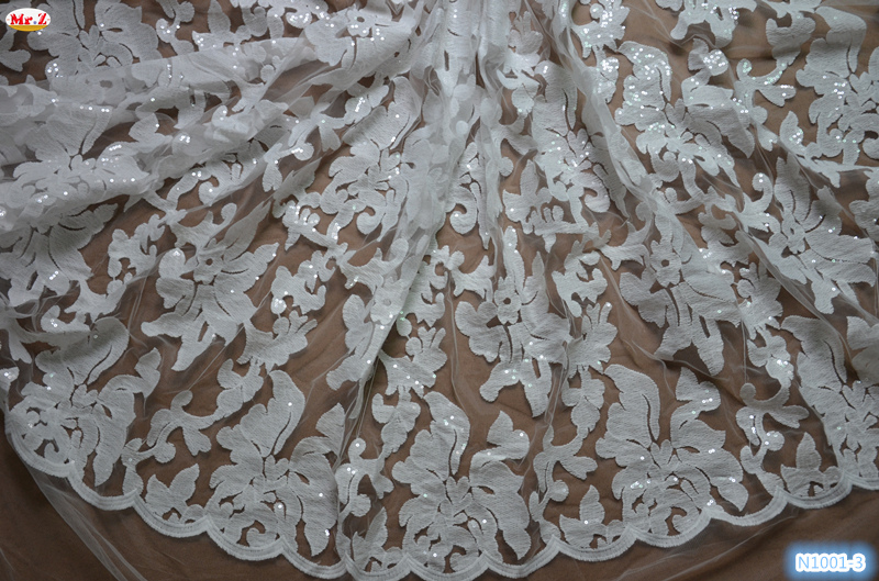Eco-Friendly embroidered sequin tulle fabric french net lace fabric for wedding party Mr.Z Lace(China (Mainland))