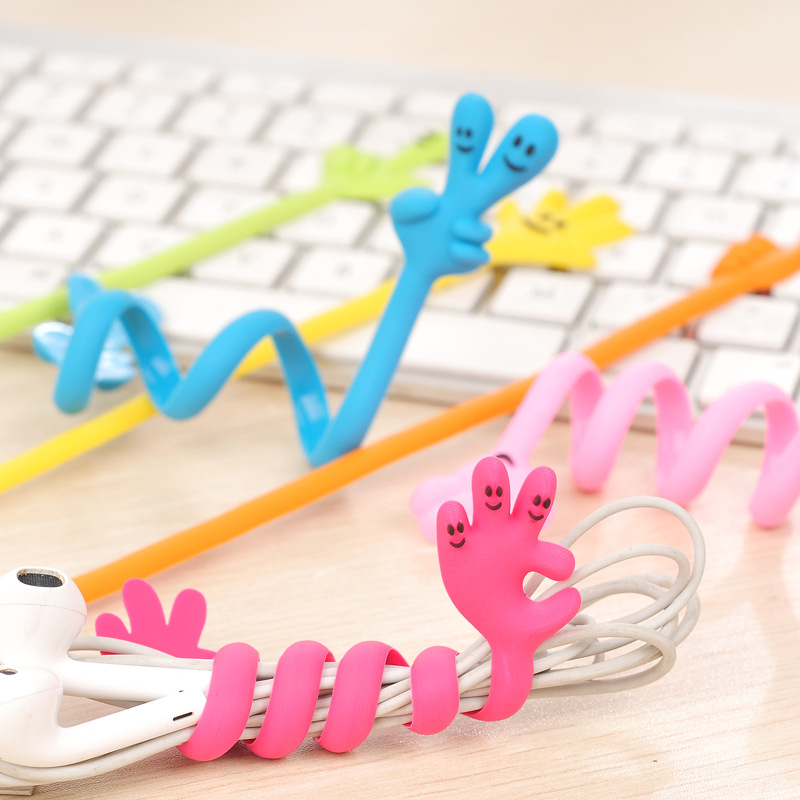 Lovely Classic Finger Bending Strip Earphone Cable Wire Cord Organizer Holder Winder For iphone samsung Headphone Wire Storage(China (Mainland))