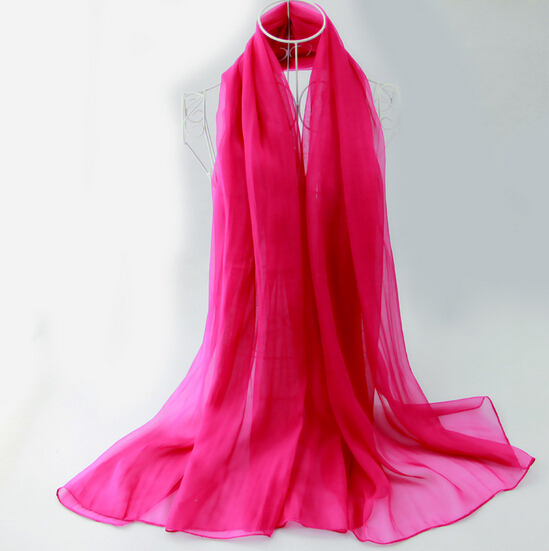180X110CM New Design 17 Different Colours Silk Chiffon Scarf Plain Silk Scarves Capes for Women(China (Mainland))