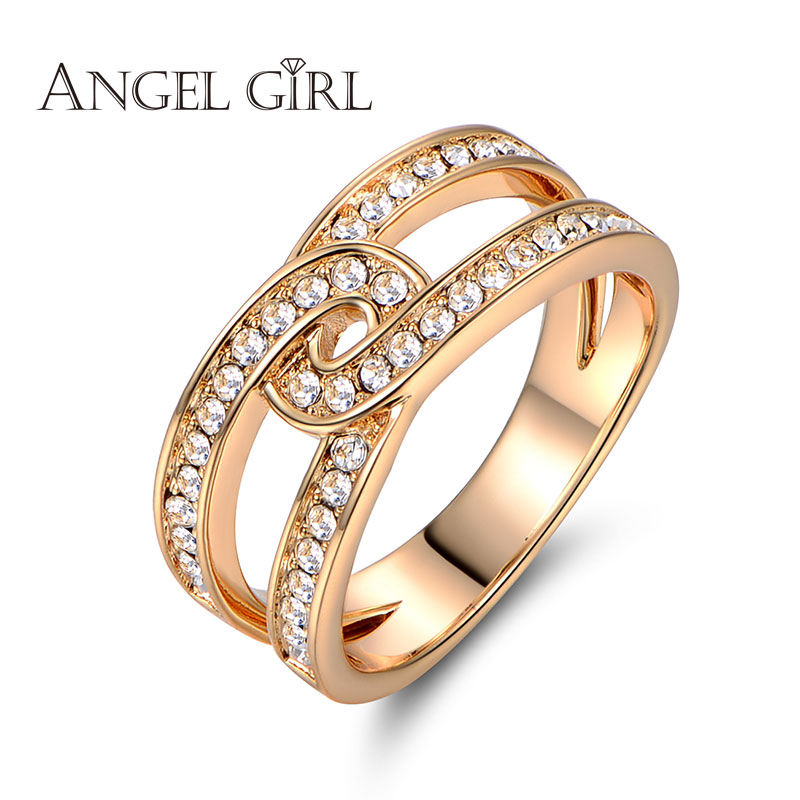 Angel Girl 2016 new Unique Square Filigree Wedding Band Ring with high quality crystal Real Gold Plated Jewelry For Women(China (Mainland))