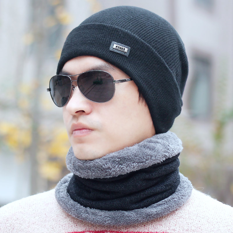 Male pocket hat muffler scarf set plus velvet thickening winter hat fashion winter ear thermal(China (Mainland))