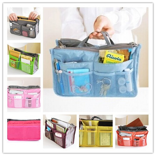 2015 Rushed Necessaries Solid Organizer Makeup Case Bags Key Inside Outside Insert Storage Nylon Clutch Purse Handbag Mp3 Phone(China (Mainland))