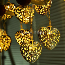 New Hot Selling Christmas Silver Filigree Metal Hearts Pendant Led String light Lighting Indoor Bedroom Fairy Lights