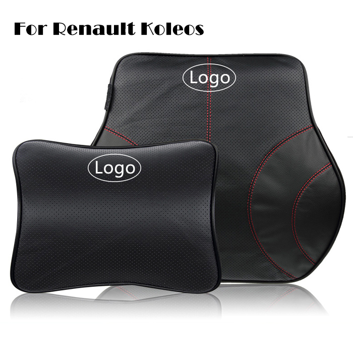Leather Car Headrest Car Back Cushion for Renault Koleos Neck Support Pillow Car Lumbar Back Support Pillow Memory Cutton(China (Mainland))