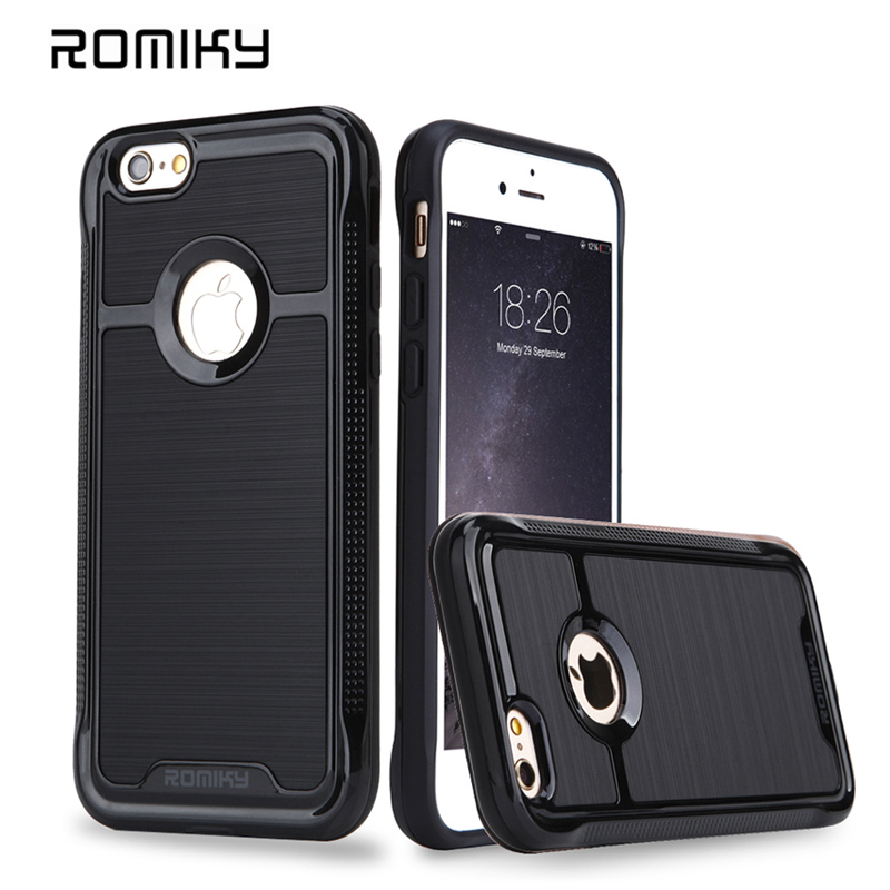 ROMIKY Original brand 2 in 1 Hybrid Plastic TPU Soft Case for iphone 6s 6splus 5s SE drop proof brushed armor phone covers(China (Mainland))