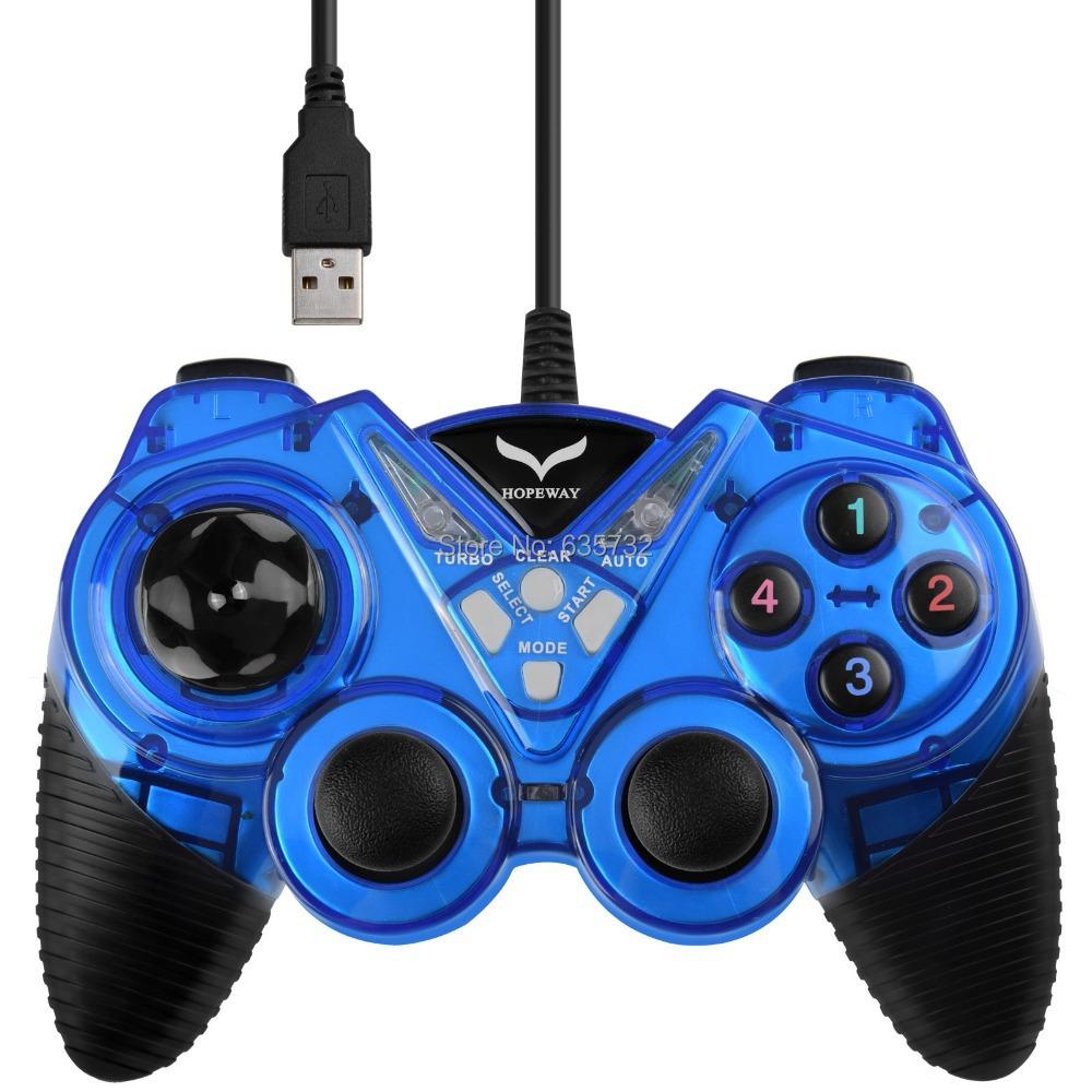 Turbo Duo Shock Vibration USB Controller Gamepad for Windows PC Blue(Hong Kong)