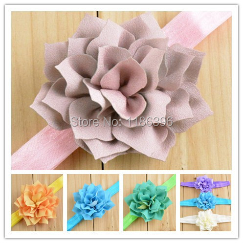 20pcs/lot 10colors Baby Girls Headband Lotus Flower Baby Headband Flower Headband Elastic Hairband Baby Girls Toddler Headbands(China (Mainland))