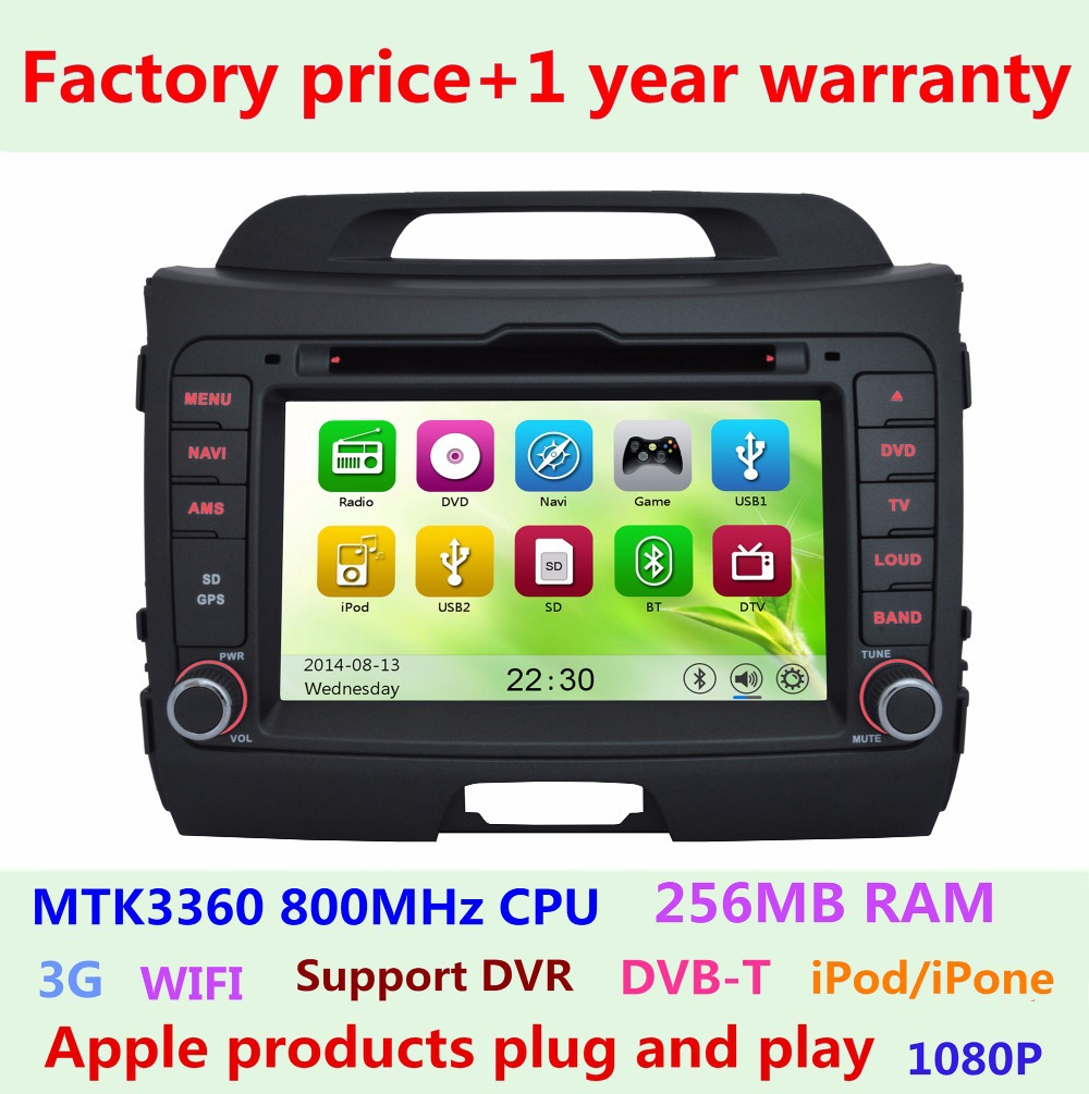 Factory price Touch screen Car DVD Player for KIA SPORTAGE R 2010 2011 2012 2013 2014 2015 GPS System Bluetooth Stereo Radio(China (Mainland))