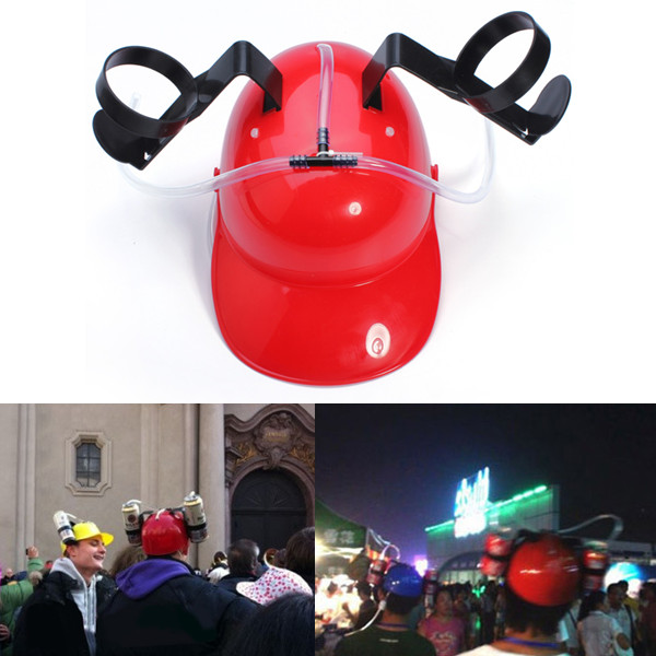 Fashion Fun Unique Cool Party holiday Game Beer Soda Dual Can Holder Straw Drinking Hard Hat Helmet Cap 4 Colors(China (Mainland))