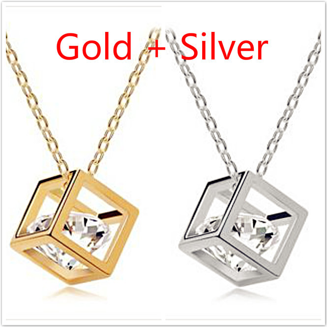 Free shipping Crystal Jewelry Cube Cubic Zirconia Necklace - Stereo Love Wholesale (50pcs/lot) Hearts / Arrows Pendant Necklace(China (Mainland))