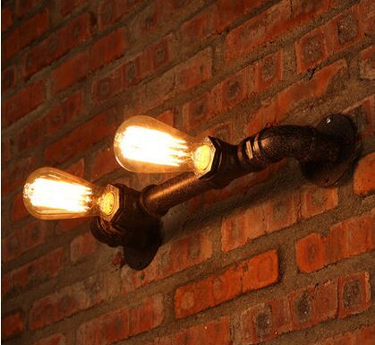 Vintage industrial style wall lamp loft industrial Edison bulb 2 lamps water pipe wall light hotel cafe bar home lighting<br><br>Aliexpress