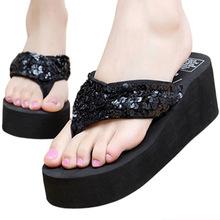 Low Price! Summer Fashion Women Flip-flops Sandals Sequined Anti-Skid Thick Bottom Platform Beach Sandal Slippers Lady Flip Flop(China (Mainland))