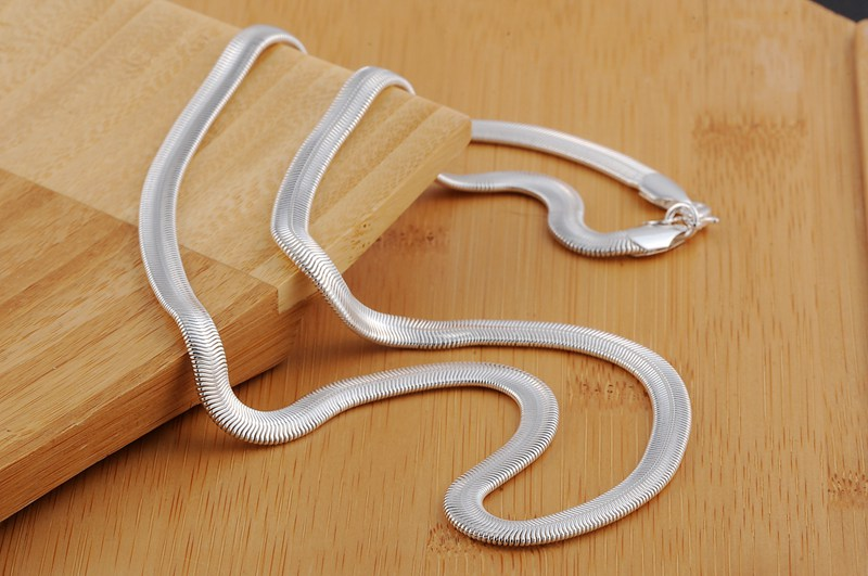 16 24inch Free shipping Popular N193 Beautiful fashion Elegant silver Plated SNAKE 5MM Necklace TOP quality