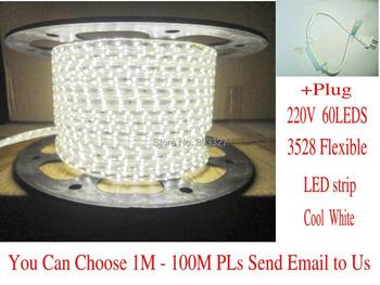 1M 3528 LED strip waterproof IP65 Flexible strips 200V- 240V white  + free 2Pin Plug