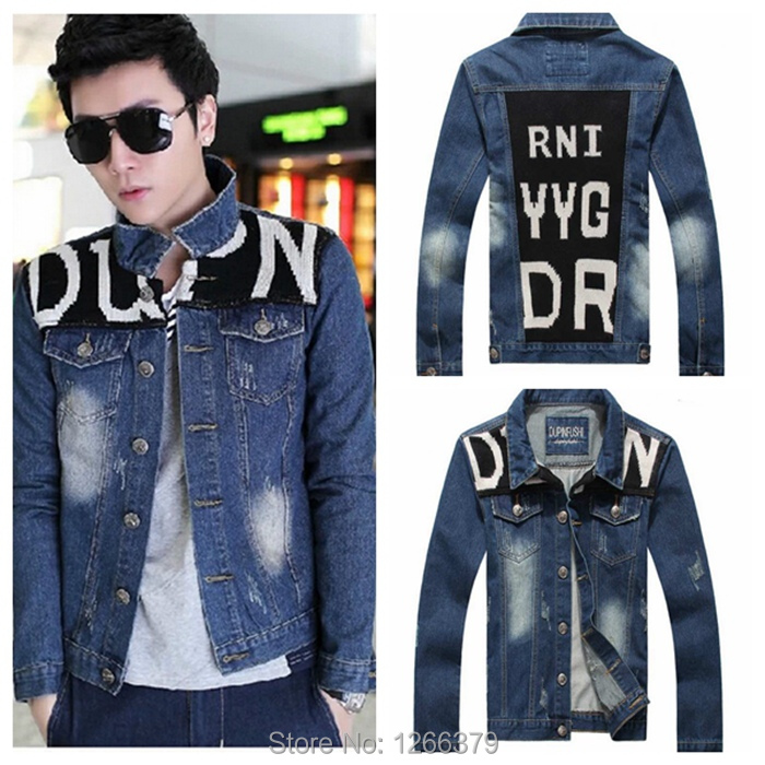 Stylish Knitted Patchwork Men Jean Jacket Motorcycle Washed Jean Jacket Coat Blue Size L-3XL FS1427(China (Mainland))