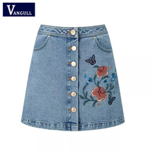 Buy Women Embroidery Skirt 2017 Casual A-Line Floral High Waist Denim Female Sexy Women Short Ladies Blue Summer Jeans Mini Skirts for $17.63 in AliExpress store