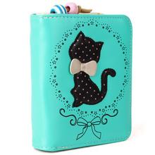 Frauen Kurze Brieftasche Schönen Karton Katze Dot Blumenmuster Weiche Leder Materialien Kleine Geldbörse Candy Frische Farben Valentines Geschenk(China (Mainland))