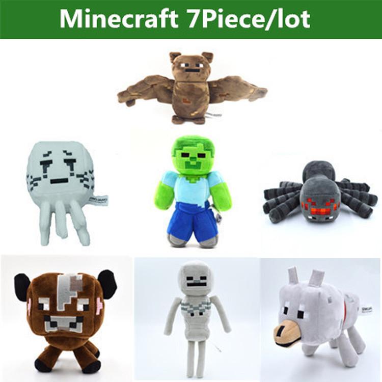 Minecraft Toys Minecraft Creeper Cartoon Game Plush Toys Minecraft Skeleton Wolf Steve Cow Ghost Spider Bat Baby Toys(China (Mainland))