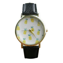 Roman Hot Sale Fashion Casual Geneva Pineapple Pattern Leather Band cartoon Analog Quartz Vogue Wrist Watch
