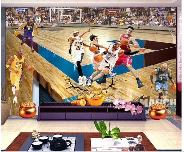 Custom photo wallpaper 3D stereoscopic NBA basketball star TV background 3d mural wallpaper 20155340(China (Mainland))