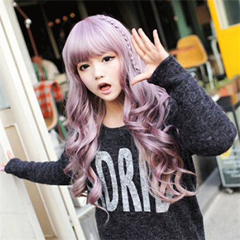 Womens Long Curly Wavy Lilac Purple Costume Cosplay Wig