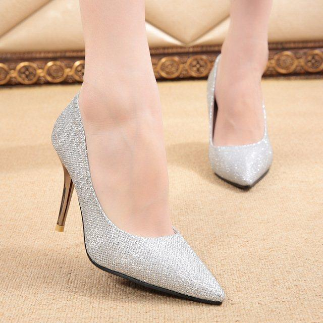Princess womens pointed toe high-heeled shoes gold paillette shallow mouth crystal wedding shoes elegant silver thin heels<br><br>Aliexpress