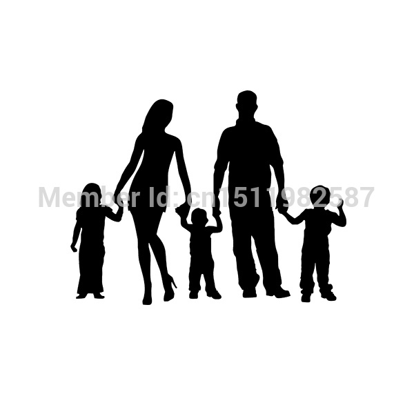 Stick Figure Family Car Stickers Truck Window Vinyl Reflective Decals For Auto SUV Funny JDM Laptop Mac Wall Ship Cool Graphics(China (Mainland))