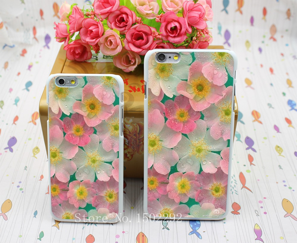 New Arrival England Style Colored Drawing Cartoon Flower Back Skin Case for iPhone 6 6s 6 plus Protect Cell Phone Cover(China (Mainland))