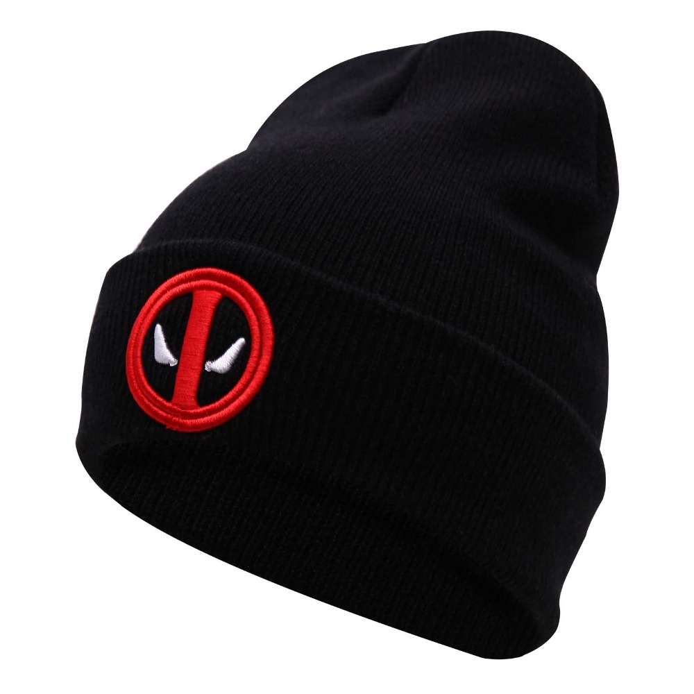New Hot Selling Cotton Deadpool Winter Hat Embroidery Men And Women Hats Soft Solid Beanies Hip Hop Warm Knitted Caps Gorros(China (Mainland))