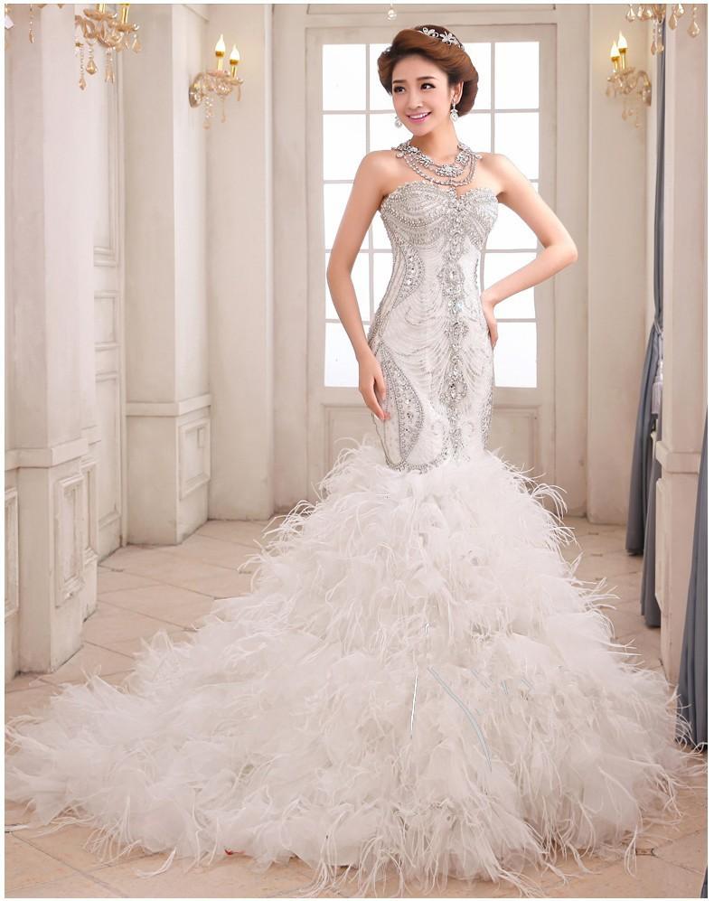 Luxury Mermaid Wedding Gown Sweetheart Beaded Crystals Sleeveless Feather Wedding Dresses 2015(China (Mainland))