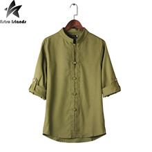 2016 Summer Three Quarter Causal Shirts vintage Slim Fit camisa hombre Fashion Cheap Men Clothes Large Size 5XL Popular P212(China (Mainland))