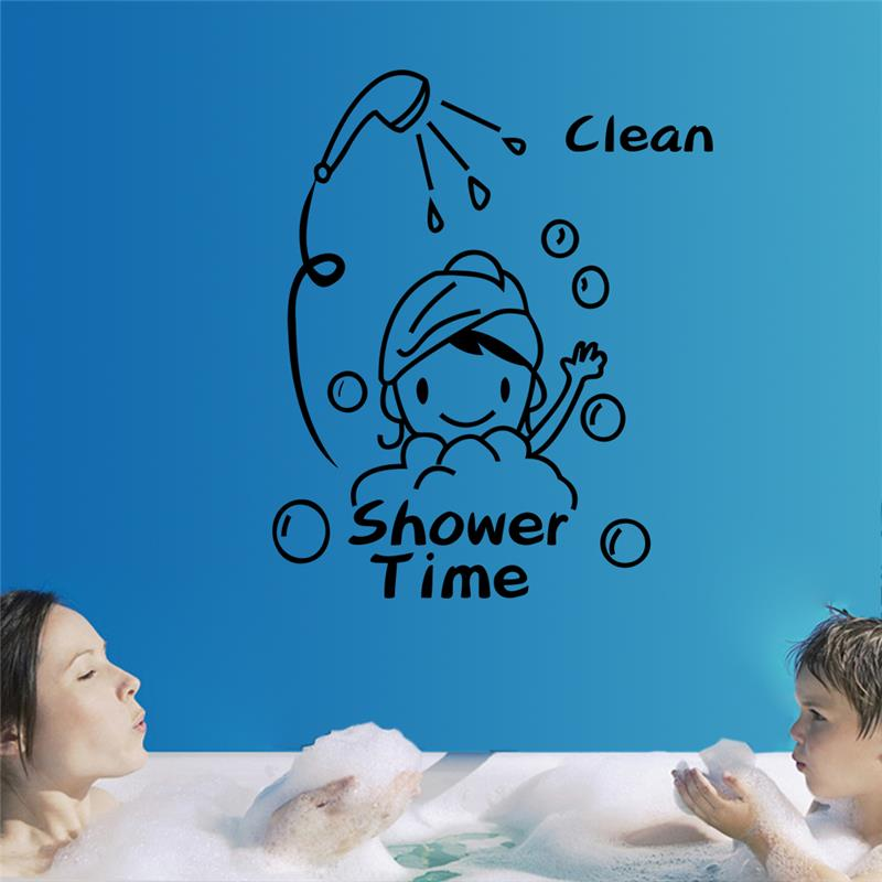 shower time wall stickers bathroom decorations 8500. diy vinyl removable home decals mural arts adesivos de paredes posters 3.5(China (Mainland))