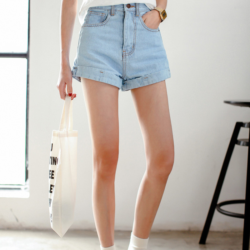 New arrival high waist shorts women plus size roll rim loose denim shorts 8 sizes high street fashion shorts with high waisted(China (Mainland))