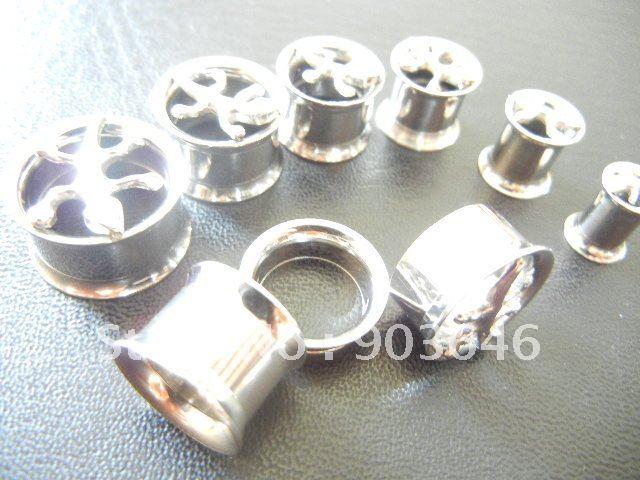 2011Free Shippment Lot 50pcs New Arrived Body Jewelry -Fancy Logo Ear Tunnels Ear Plugs<br><br>Aliexpress