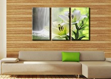 Beautiful white lilies and waterfalls 3 Panels/Set HD picture Canvas Print Painting Art work(China (Mainland))