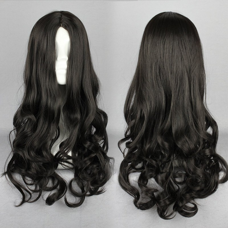 MCOSER Supreme Design Zipper Black 50CM Long Wavy Curly Cosplay Lolita Wig Free Shipping(China (Mainland))