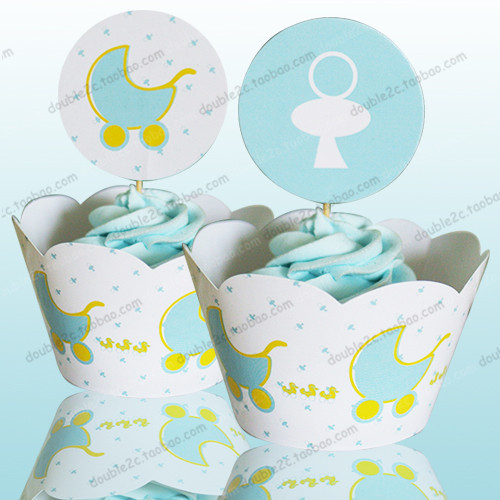 Baby carriage cupcake wrappers baby shower boy decoration for Baby shower decoration kits boy